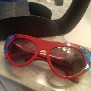 Prada red crystal sunglasses